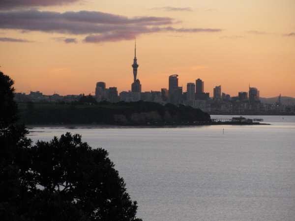 Auckland harbour at dusk