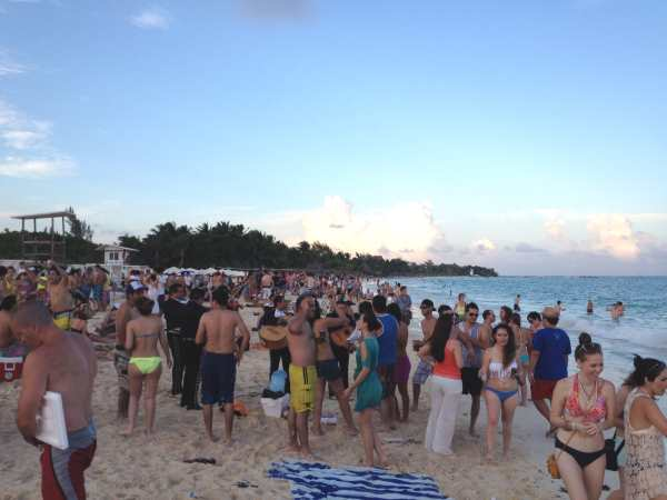 Party atmosphere 4 pm on beach